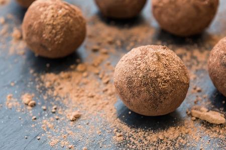 Homemade fresh energy balls with chocolate
