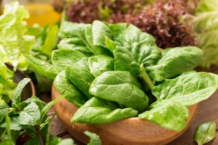 Fresh spinach and other greens for smoothies