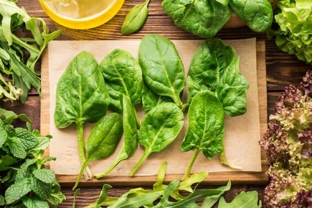 Fresh spinach, arugula and other greens for healthy garnish