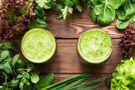 Vegetarian fresh smoothie in glasses for healthy snack Standard-Bild