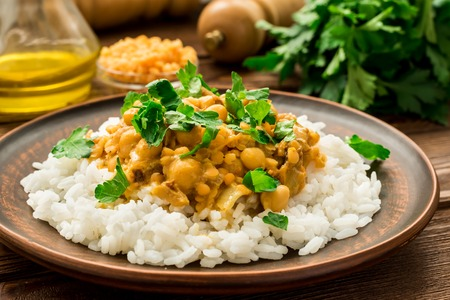 Delicious rice and vegan chickpea curry