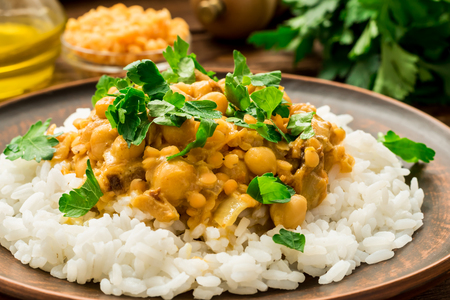 Vegetarian healthy rice and vegan chickpea curry