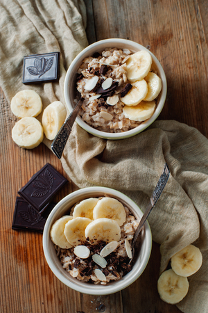 A lovely oatmeal dessert with banana and chocolate