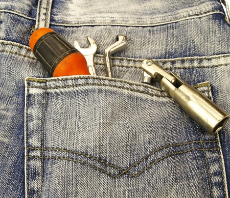 Tools and jeans pocket photo