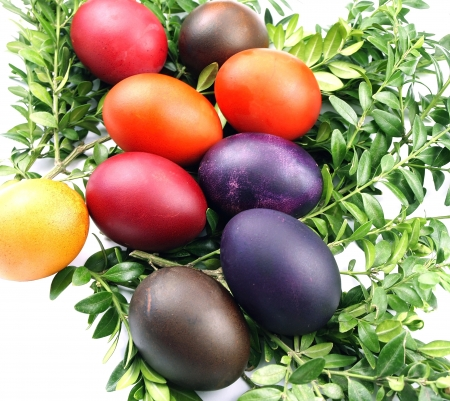 osier: Wicker basket with Easter eggs Stock Photo