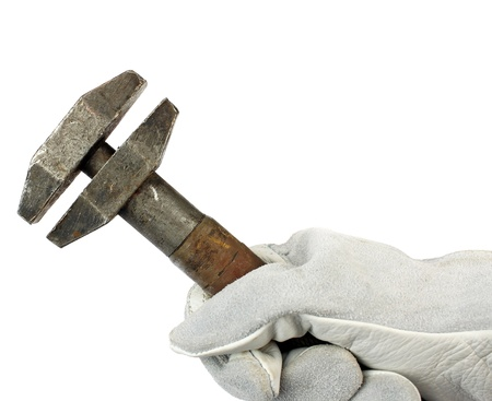 crescent wrench: Adjustable spanner in hand with protection glove Stock Photo