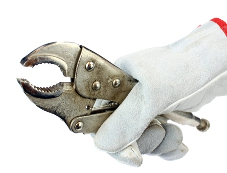 alligator wrench: alligator wrench in hand