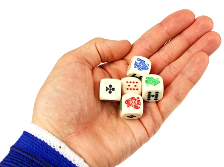 Dices in hand isolated on white background photo