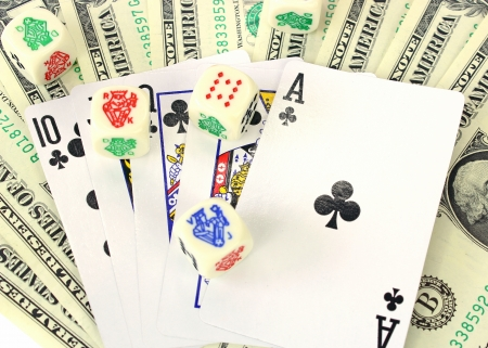 Dollars and playing cards  photo