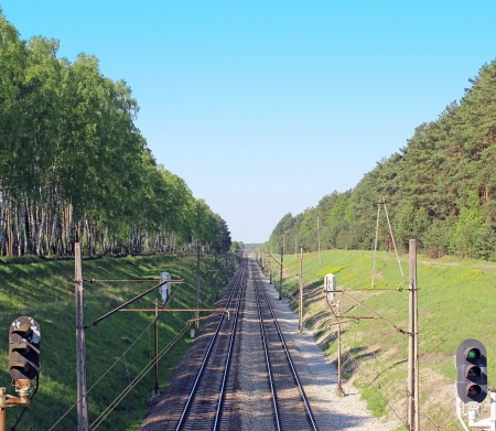 Railway track lines Poland Stock Photo