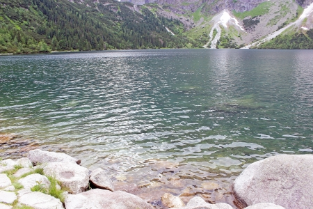 morskie: mountain lake Morskie Oko in the Tatras, Poland Stock Photo