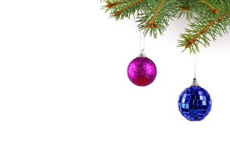 Christmas evergreen spruce tree and glass ball Stock Photo