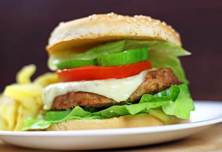 raw materials: hamburger fast food with plenty of raw materials Stock Photo