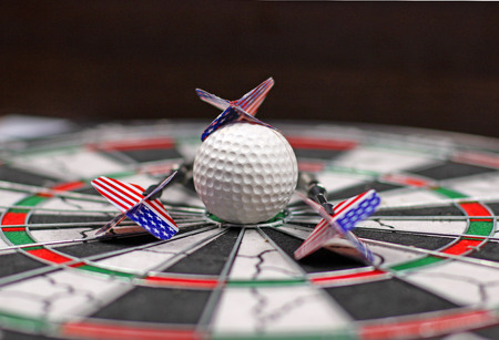 justified: Shield, darts and not justified target Stock Photo