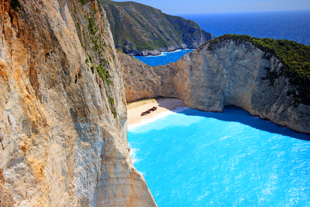 Idyllic view of beautiful Navagio Beach - shipwreck on Zakynthos Island in Greece Stock Photo