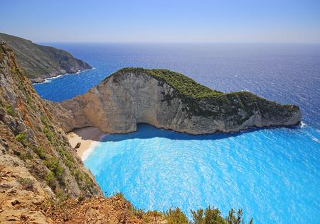 Idyllic view of beautiful Navagio Beach - shipwreck on Zakynthos Island in Greece Stock Photo