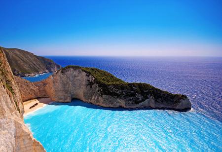 greek island: Navagio Beach - Shipwreck beach on Zakynthos island in Greece Stock Photo