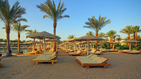 hurghada: Tropical beach early morning. Hurghada city, Egypt. Stock Photo