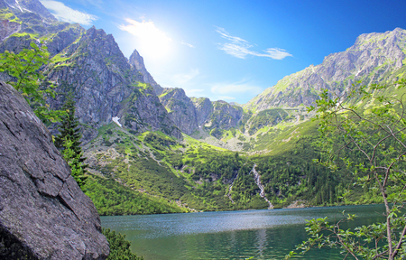 The great pond in the Polish mountains - Tatra Mountains. Tatra National Park