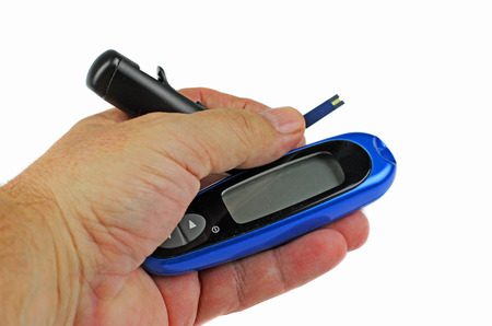 glycemic: Measuring blood sugar levels Stock Photo