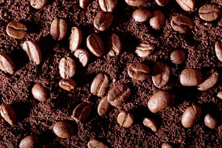 milled: Beans and milled coffee background.