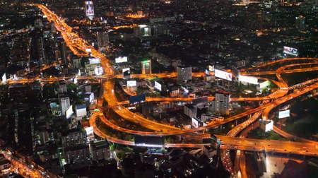panorama view capital city of Thailand trafic road, Night top view skyline highway twilight, office buildings, living, condominium in bangkok city skyline top night view Stockfoto