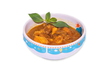 Pork curry(Hung lae), a northern dish that has a strong aroma on isolate white background.