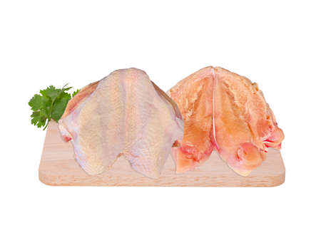 Fresh chicken breast, quality pieces Has a high nutritional value on isolate white background.