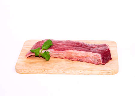 Fresh brahman beef ready to cook a delicious steak on isolate white background.