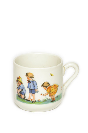 curio: And he painted porcellainic cup and children, antique, home decoration.