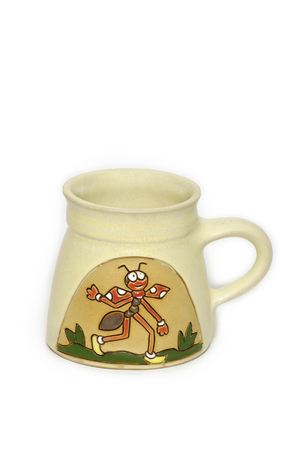 pismire: A painted ceramic cup, hold it and drinkables Stock Photo