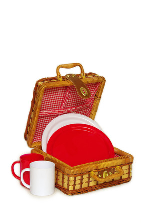 osier: A wicker picnic handbasket for picnic needs Stock Photo