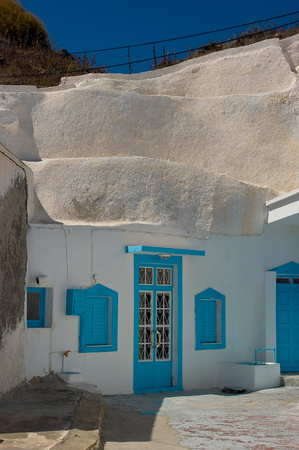 The typical folk architecture, Thirassia village. Stock Photo