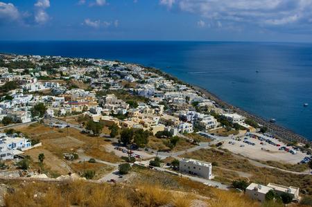 ギリシャ、サントリーニ島、カマリ市。 写真素材