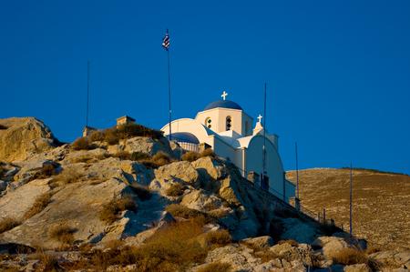 Orthodox Church in Kamari, Santorini Island. Stock Photo