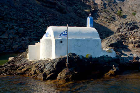 Orthodox Church in Santorini Island, Greece. Stock Photo