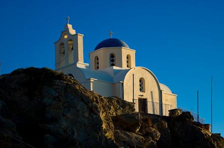 Orthodox Church in Kamari, Santorini Island. Editorial
