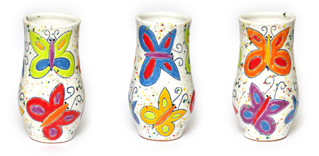 Ceramic painted vases industrial arts.