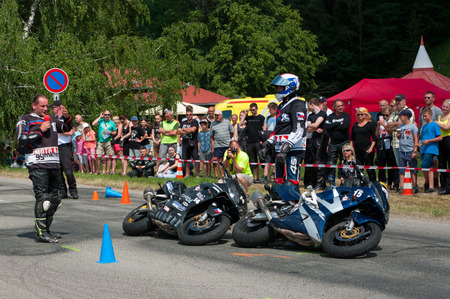 Date of 02. June 2018 venue township Sloup, South Moravia, Czech Republic. Preventative safety events for motorcyclists. Participated in this event traffic police, firefighters and paramedics. 報道画像