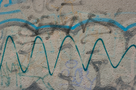 A close-up view of the wall that an unidentified vandal drew. 写真素材