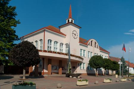 City Hall building in the town of Velke Pavlovice, South Moravia, Czech Republic.