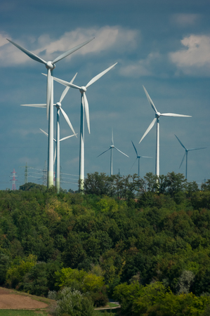 Wind power plant. Equipment for the ecological production of electricity. Stock Photo