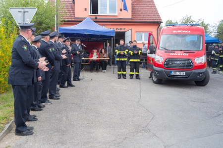 Ceremonial blessing of a new fire truck. Date 4.5.2019, village Sosuvka, South Moravia, Czech Republic.