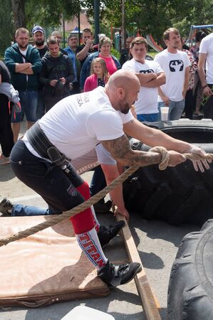 Strongman 2019. Amateur competition in extreme power sport. Date 13.7.2019, Sosuvka village, South Moravia, Czech Republic.