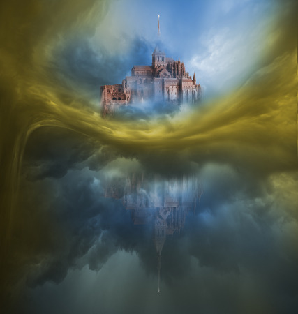 mont saint michel: Colorful, Danger, Dark Clouds - chromatic Variation with Mont Saint Michel Stock Photo