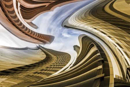 vertigo: Architectural Vertigo, Skyscrapers Variation, Deformation of Office Buildings in Warsaw Stock Photo