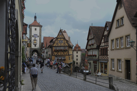 July 2, 2009, Rothenburg, Germany, Rothenburg ob der Tauber is a beautiful walled little town with streets of cobble stone on the drive through Romance Road.  Editorial use
