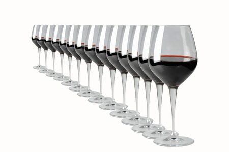 what if: Wine glasses Infinity is what we we see as if in a mirror a glass of delicious wine.  Commercial use. Stock Photo