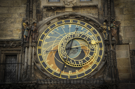 come in: Prague, Republic of Czech; July 10, 2009, Astronomical Clock on the Old Town Square is a part of a beautiful clock in the Old Town Square Prague Plaza which is mesmerizing to watch as on the hour figurines come out of their doors.  Editorial use.