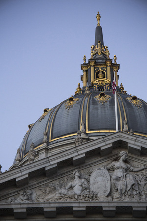 San Francisco, California, November 14, 2013, City Hall is a beautifully crafted architecture in San Francisco whos dome is a splendor. Editorial use. Editorial